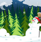Snowman in the night forest — Stock Vector