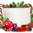 Christmas wreath with baubles and ribbons — Imagen vectorial