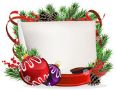 Christmas wreath with baubles and ribbons — Stockvector