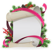 Scroll paper with ribbon and spruce branches — Stock vektor