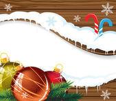 Dřevěné billboard s vánoční ozdoby — Stock vektor