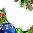 Christmas baubles with green ribbon — Wektor stockowy #36713403