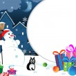 Snowman with Christmas presents — Imagen vectorial