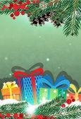 Christmas presents and Christmas tree — Stockvector