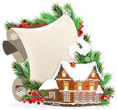 House and Christmas wreath — Stock Vector