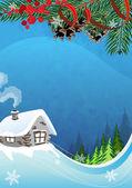 Paysage d'hiver rural — Vecteur