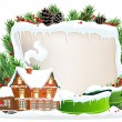 Brick house and Christmas wreath — Vettoriali Stock