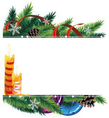 Christmas background with baubles, pine cones and candles — Stok Vektör