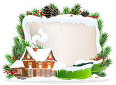 Brick house and Christmas wreath — Vector de stock