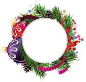 Christmas balls with ribbon — Stock Vector
