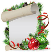 Paper scroll with green and red baubles — Stockvector