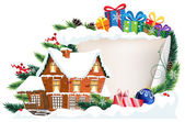 Brick house and Christmas gifts — Stock Vector