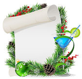 Blue cocktail, scroll and Christmas wreath — Vector de stock