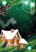 Kerst huis. — Stockvector