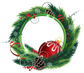 Christmas wreath with red bauble — Stock vektor