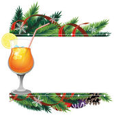 Cocktail and pine branches — Stock vektor