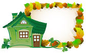 House on background of autumn leaves — Stock Vector