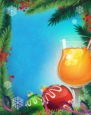 Orange cocktail on a winter background — Vector de stock