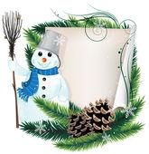 Snowman and Christmas wreath — Stock Vector