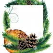 Orange Christmas tree decoration with pine cones — Vector de stock