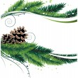 Stock Vector: Pine branches and cones
