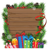 Christmas presents on wooden board — Stock Vector