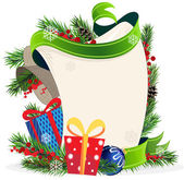 Christmas wreath and Gift Boxes — Stock Vector