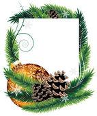 Orange Christmas tree decoration with pine cones — Vector de stock