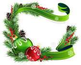 Bolas de navidad rojo y verde — Vector de stock