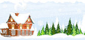 Snow-covered Farmhouse — Stock Vector
