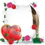 Валентина сердца, розы и бумага — Cтоковый вектор