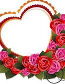 Bouquet di rose e cuore — Vettoriale Stock