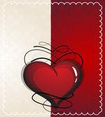 Coeur Saint-Valentin avec motif vintage — Vecteur