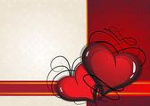 Sevgililer günü kalpleri antika arka plan üzerinde — Stok Vektör