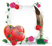 Valentines hearts, roses and paper — Stock vektor