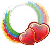 Hearts and rainbow — Stock Vector