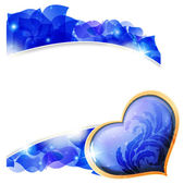 Blue Valentines heart and petals — Vetor de Stock