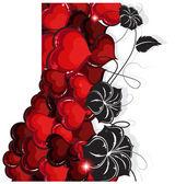 валентина сердца и цветы — Cтоковый вектор