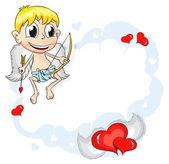 Cupid on cloud — Stock Vector