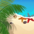 Stockvector : Beach with starfishes and palm branches
