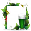 Stock Vector: Leprechaun green beer.