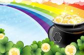 Rainbow a hrnec zlata — Stock vektor