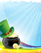Leprechaun hat and pot with gold — Stock Vector