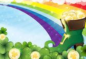 Rainbow and  leprechaun shoe — Stock Vector