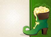 Leprechaun shoe with gold coins — Stock Vector