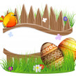 Little bird and Easter eggs — Stock Vector #43635139