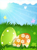 Easter eggs in the spring meadow — Stock Vector