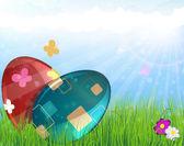 πασχαλινά αυγά σε λιβάδι — Stock vektor