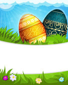 Colorful Easter eggs in grass — Stock Vector