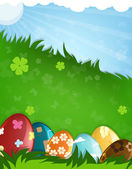 Easter eggs in a grass — Stock Vector